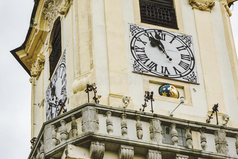 老城镇厅的Clocktower,细节 勇敢的 图库摄影