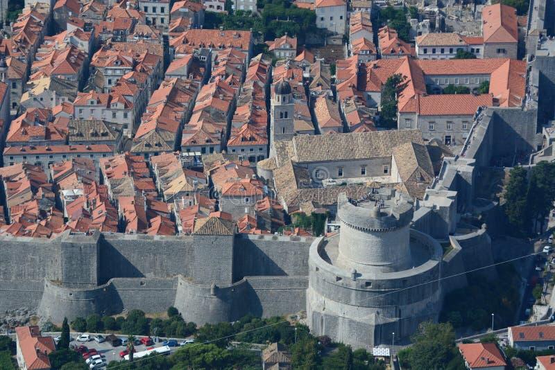 老城镇的鸟瞰图 杜布罗夫尼克市 克罗地亚 库存照片