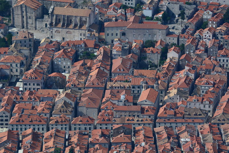 老城镇的鸟瞰图 杜布罗夫尼克市 克罗地亚 库存图片