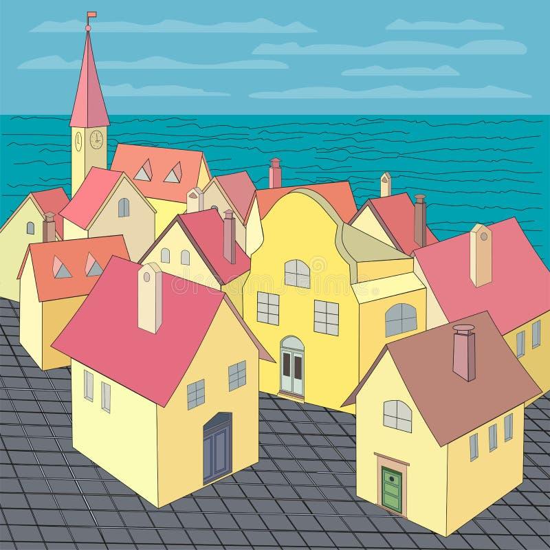 老城镇视图 向量例证