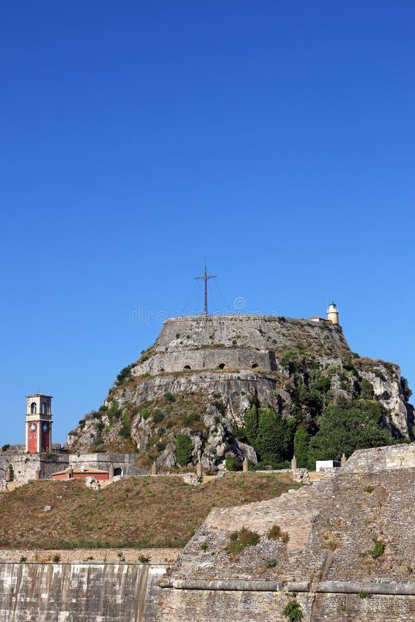 老堡垒和钟楼科孚岛镇 免版税图库摄影