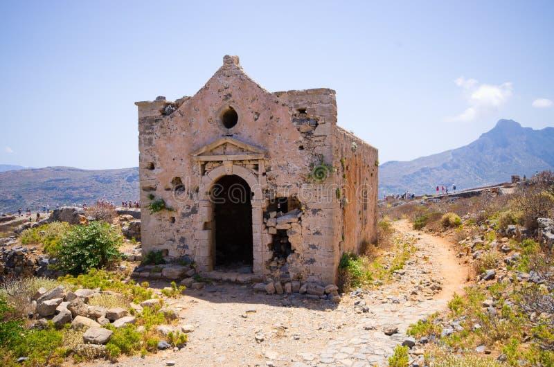 老堡垒废墟在格拉姆武萨群岛海岛,克利特,希腊上的 免版税图库摄影