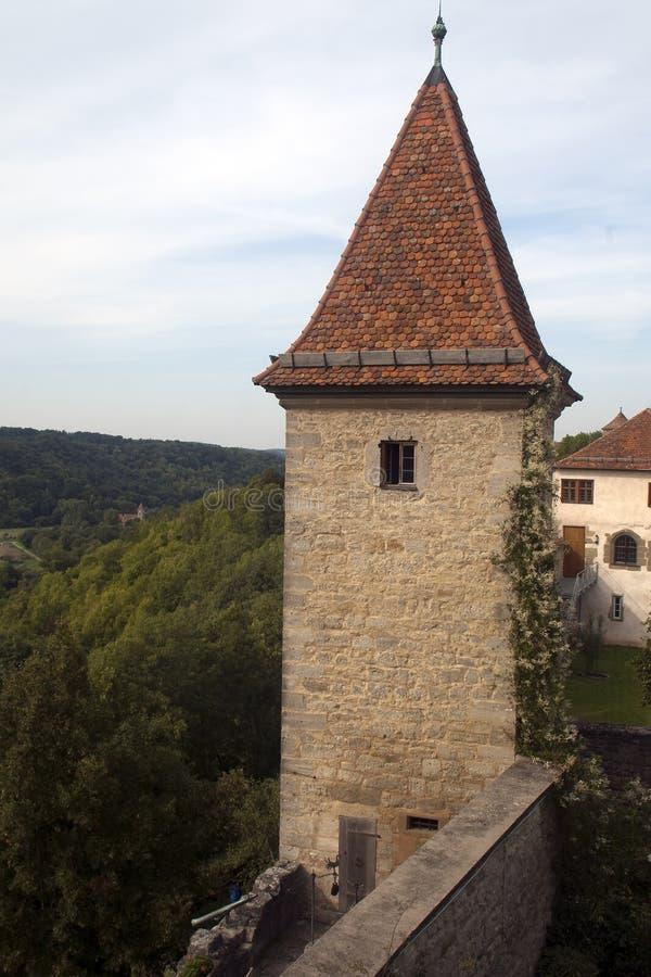 老堡垒或被围住的城市的保存良好的城楼 免版税图库摄影