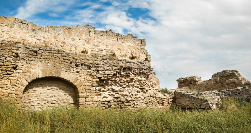 老堡垒的墙壁 Akkerman在乌克兰 免版税库存照片