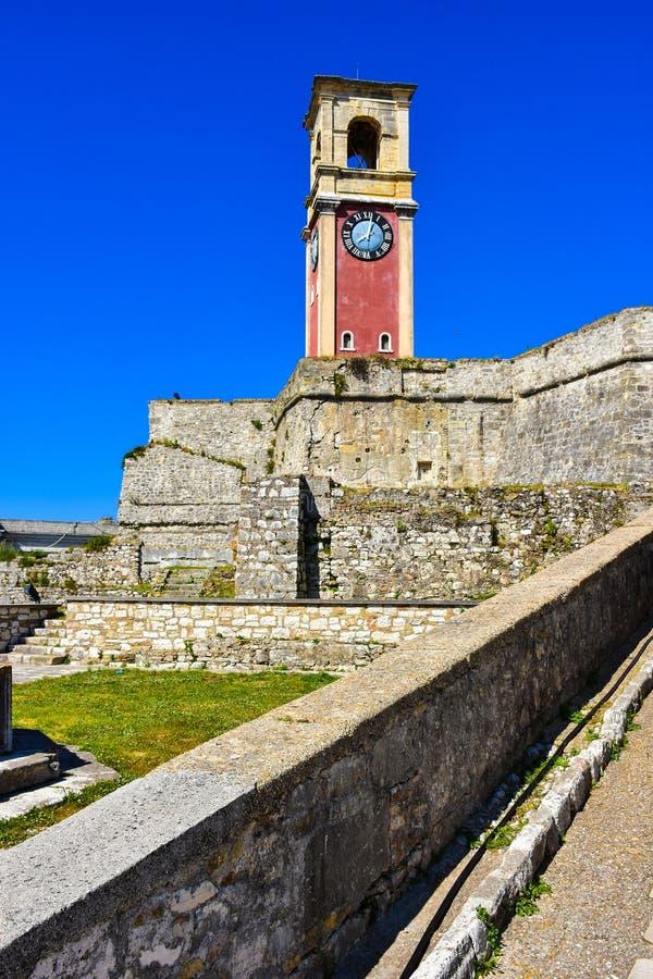 老堡垒的钟楼在科孚 免版税图库摄影