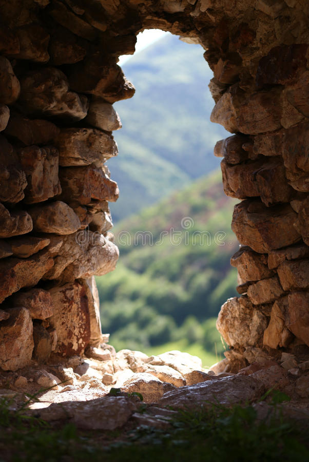 老堡垒自然岩石窗口  图库摄影