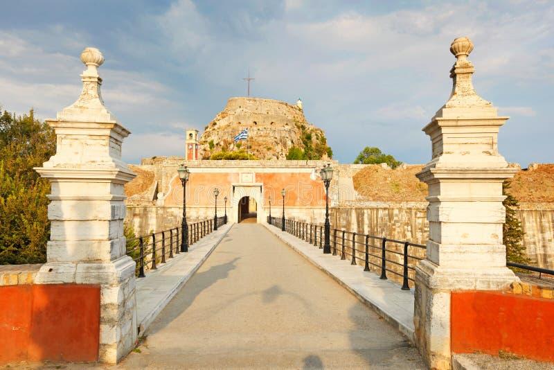 老堡垒门在科孚岛,希腊 库存照片