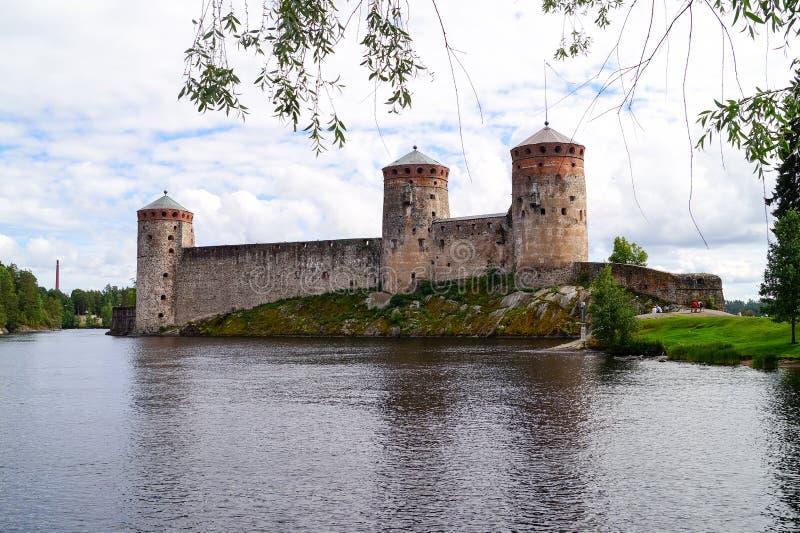 老堡垒Olavinlinna在萨翁林纳芬兰 库存照片