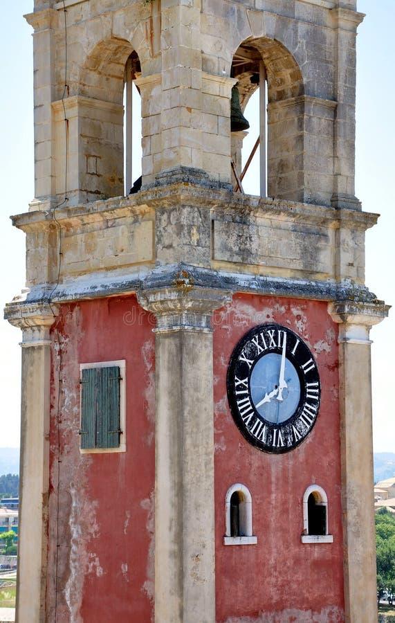 老塔时钟和科孚岛,希腊,欧洲镇  库存照片