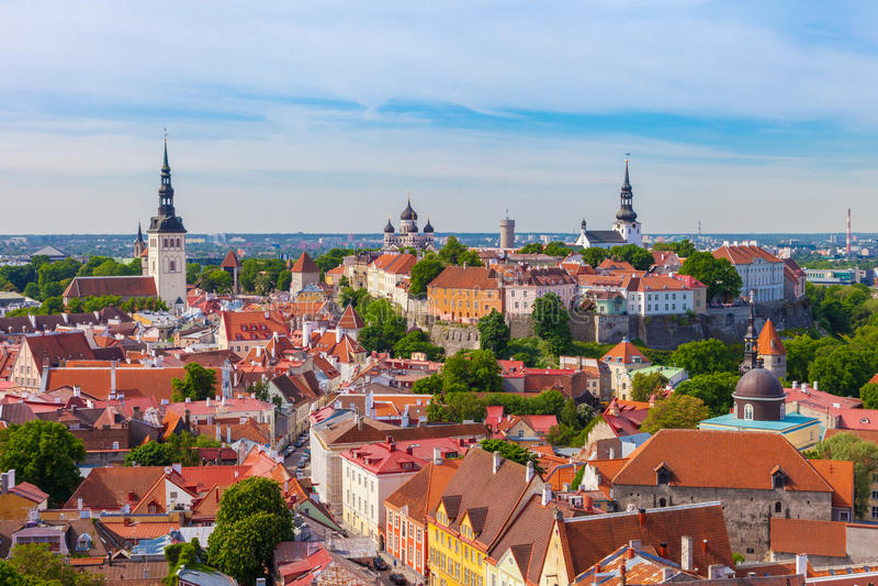 从老塔林,爱沙尼亚圣奥拉夫教会塔的看法  免版税图库摄影