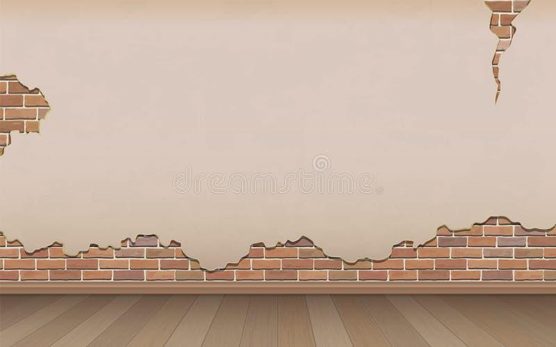 老墙壁和镶花地板 库存例证