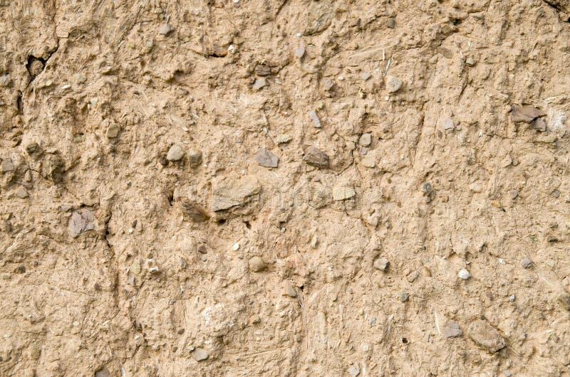 老墙壁涂灰泥与泥特写镜头 免版税库存图片