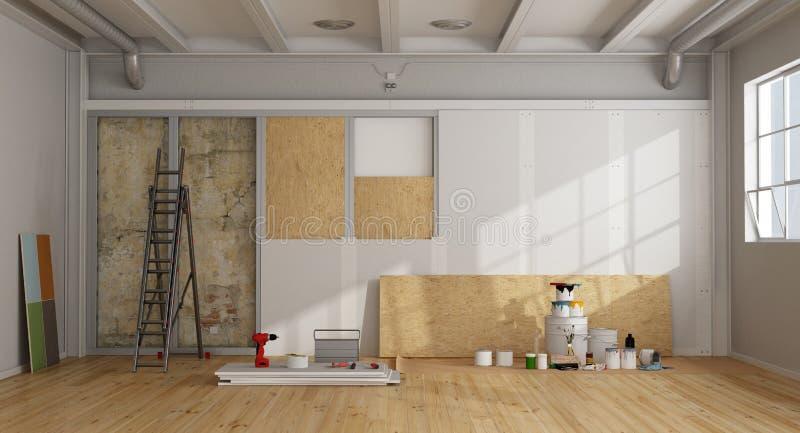 老墙壁的建筑恢复和绝缘材料 库存例证