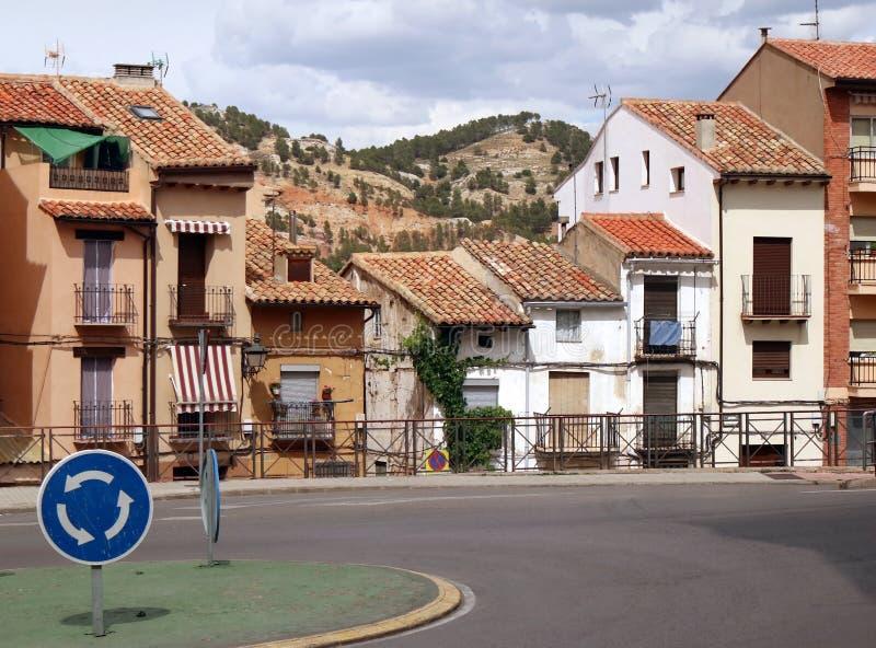 老大厦在特鲁埃尔省镇,西班牙 图库摄影