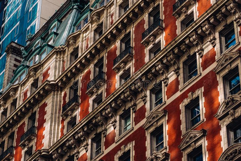 老大厦特写镜头视图尼克博克旅馆exteriro时报广场在曼哈顿中城纽约 库存图片