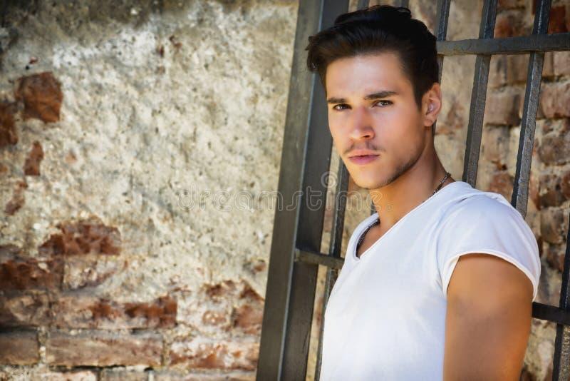 老大厦的英俊的年轻人反对砖 库存照片