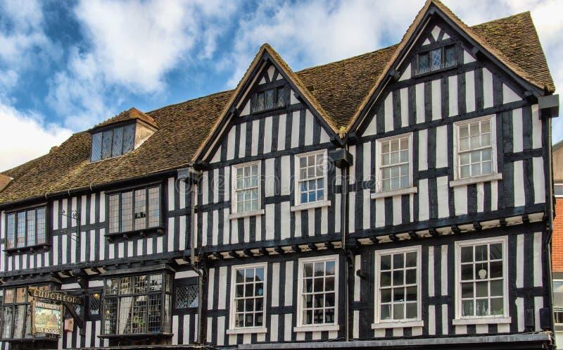 老大厦门面在斯特拉福,英国 库存图片