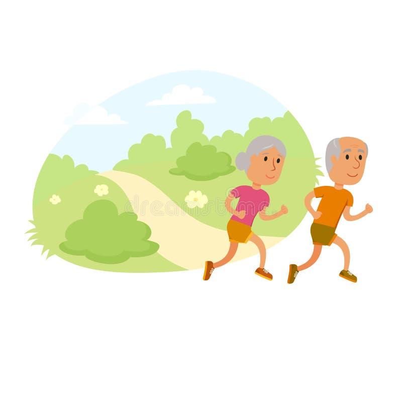 老夫妇奔跑 库存例证