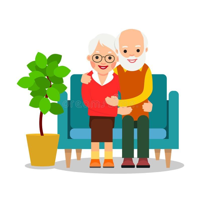 老夫妇开会 一名更老的男人和妇女坐沙发和休闲退休人员的休息概念 愉快的祖父母一起 向量例证