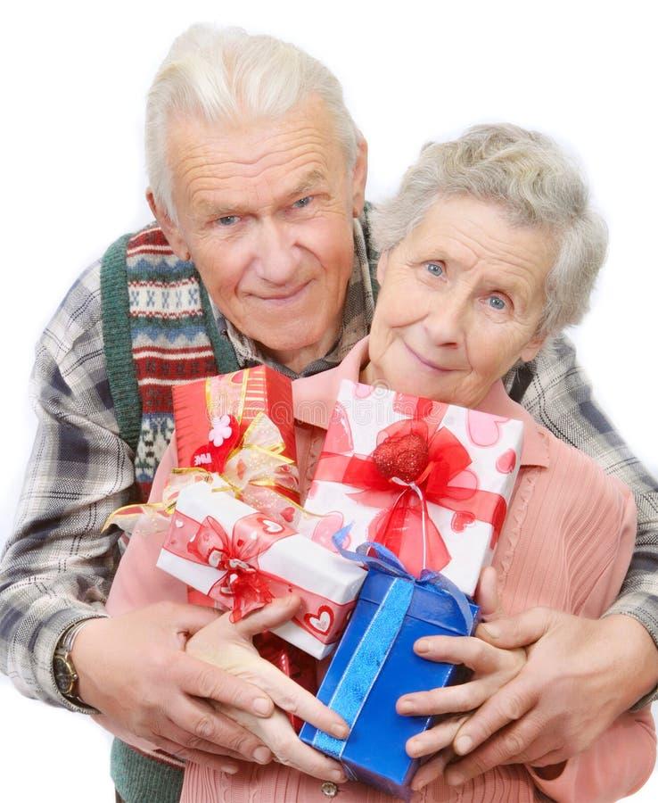老夫妇礼品 免版税库存照片