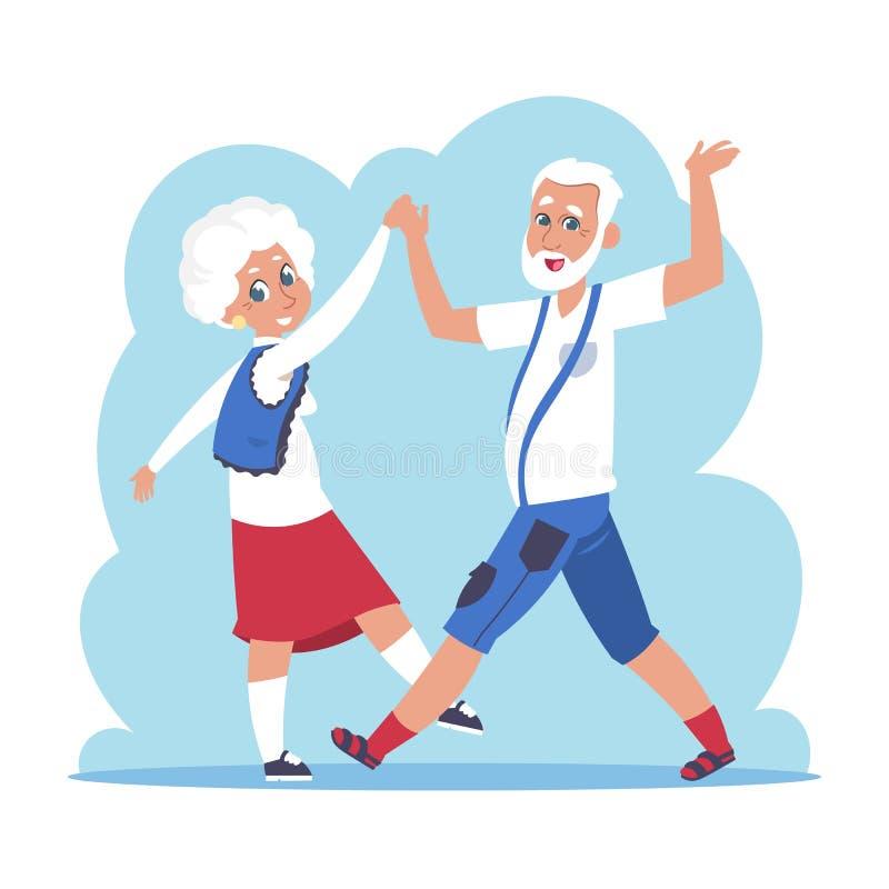 老夫妇跳舞 动画片愉快的老婆婆和祖父跳舞,平的老年人字符 传染媒介活跃祖父 向量例证
