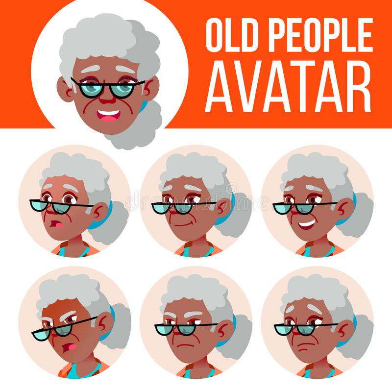 老妇人具体化集合传染媒介 投反对票 美国黑人 面对情感 资深人画象 老年人 年龄 孩子 库存例证