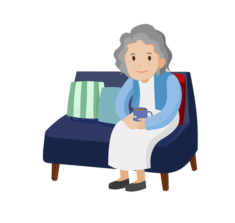 老妇伦囹�a�M_有一杯咖啡的老妇人坐沙发 id. 88499942   dreamstime.