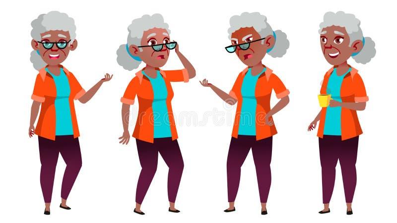 老妇人姿势被设置的传染媒介 投反对票 美国黑人 老年人 资深人 年龄 友好的祖父母 钞票 向量例证