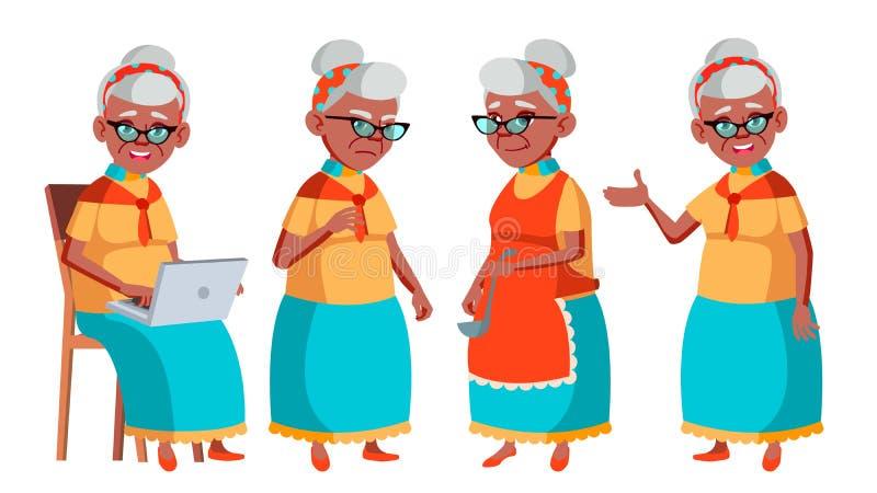 老妇人姿势被设置的传染媒介 投反对票 美国黑人 老年人 资深人 年龄 正面领抚恤金者 网,小册子 皇族释放例证