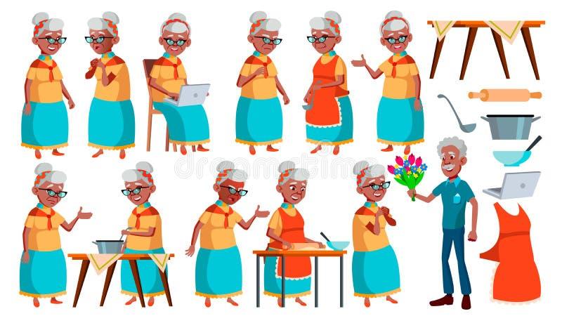 老妇人姿势被设置的传染媒介 投反对票 美国黑人 老年人 资深人 年龄 活跃祖父母 喜悦 向量例证