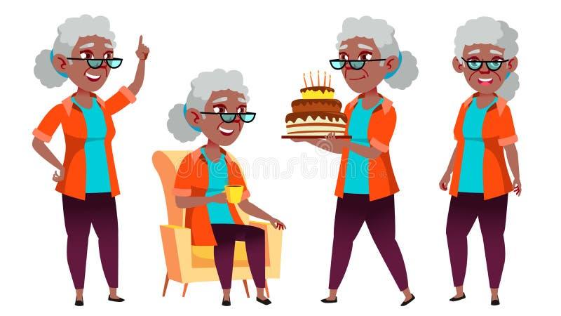 老妇人姿势被设置的传染媒介 投反对票 美国黑人 老年人 资深人 年龄 白种人退休人员 微笑 网 皇族释放例证