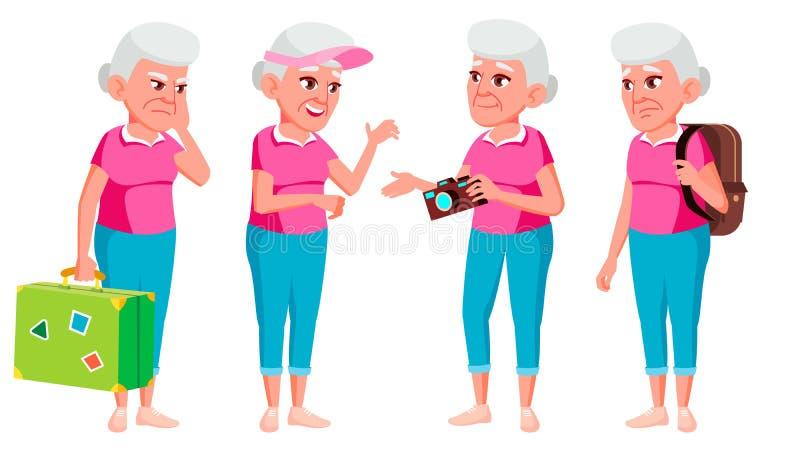 老妇人姿势被设置的传染媒介 老年人 资深人 年龄 游人,旅游业 活跃祖父母 喜悦 介绍 向量例证