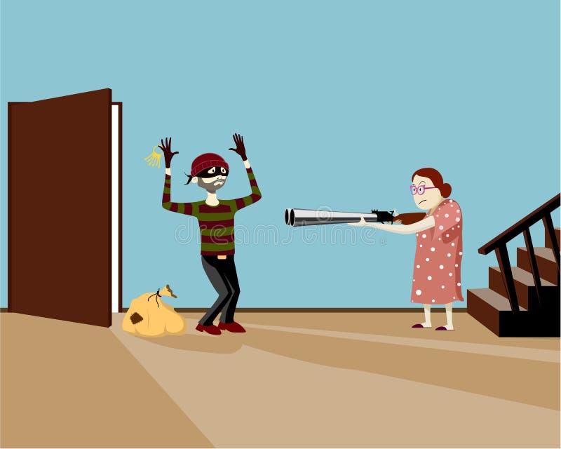 老妇人抓住窃贼 向量例证