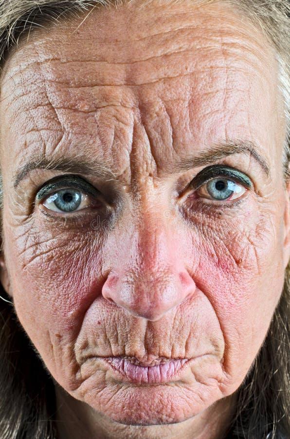 老妇人特写镜头 库存照片