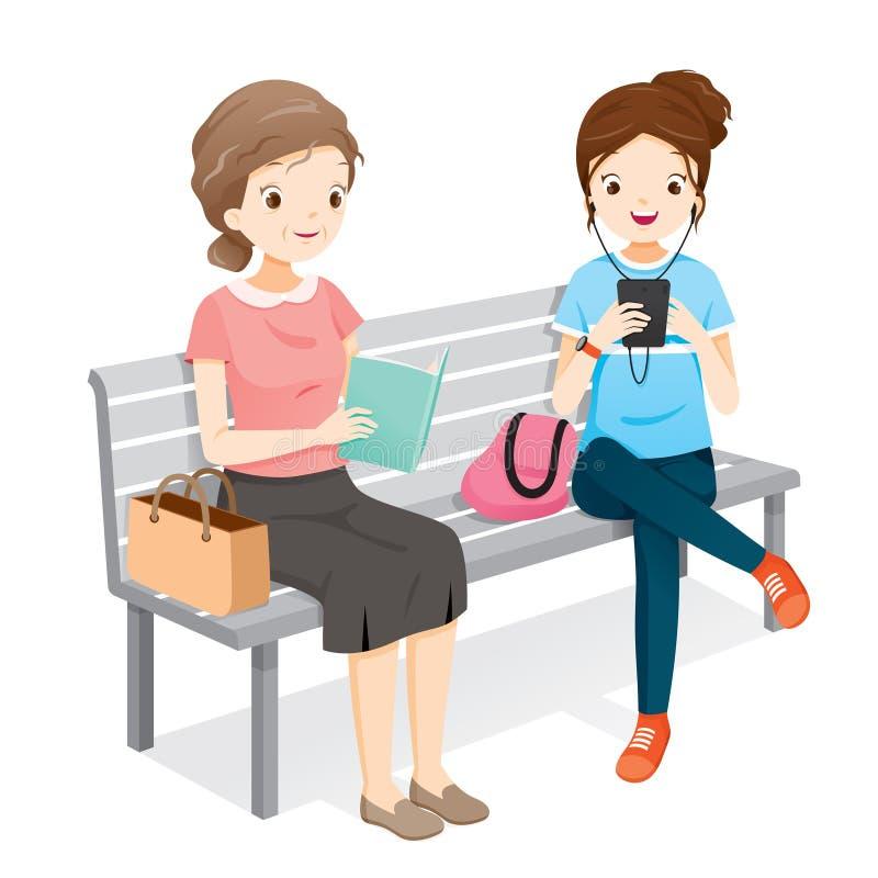 老妇人阅读书,演奏智能手机的少妇 他们Si 向量例证