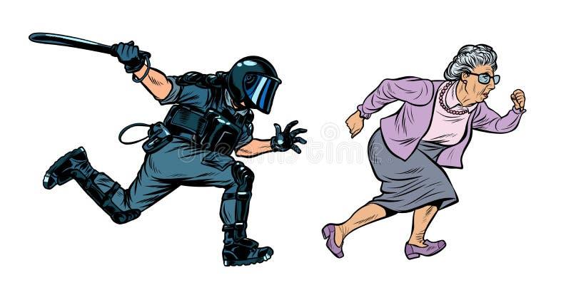 老妇人领抚恤金者 与警棒的防暴警察 库存例证