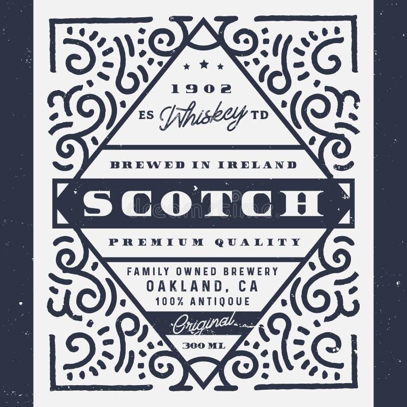 老威士忌酒标签,刻痕标签 酒精标签葡萄酒设计  向量例证