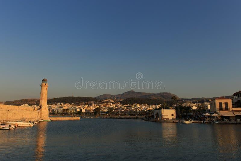 老威尼斯式口岸在罗希姆诺,克利特海岛,希腊 免版税库存图片