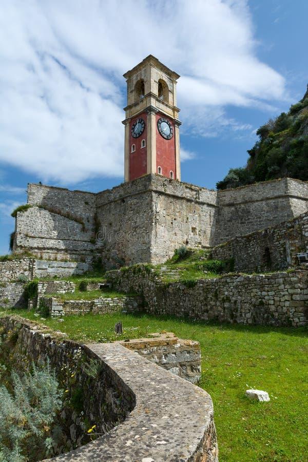 老威尼斯式堡垒在Kerkyra市,科孚岛海岛,希腊 钟塔 库存图片