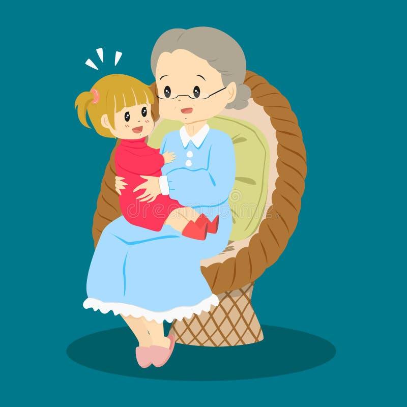 老婆婆和孙女传染媒介 向量例证