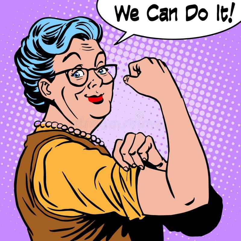 老婆婆老妇人姿态我们可以做它 库存例证