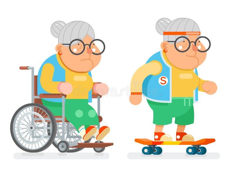 老婆婆轮椅体育健康活跃生活方式年龄滑冰的老妇人字符动画片平的设计传染媒介例证 皇族释放例证