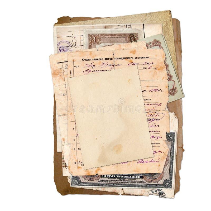 老存档文件,信函,照片,货币。 皇族释放例证