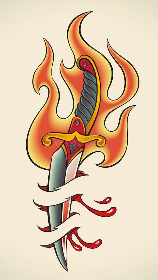 老学校纹身花刺-火焰状匕首 库存例证