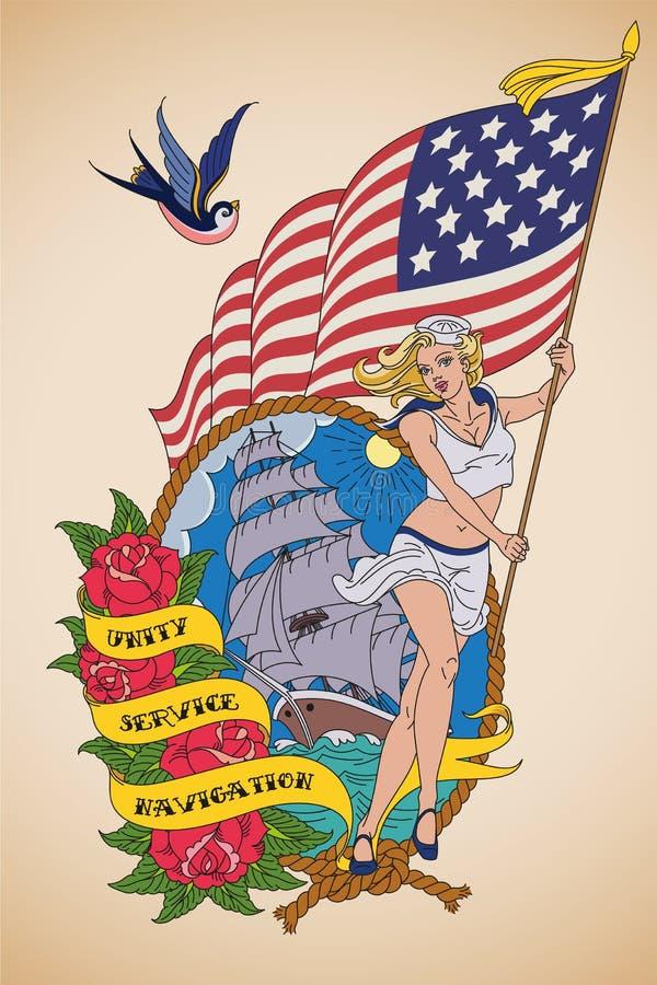 老学校美国海军纹身花刺 皇族释放例证