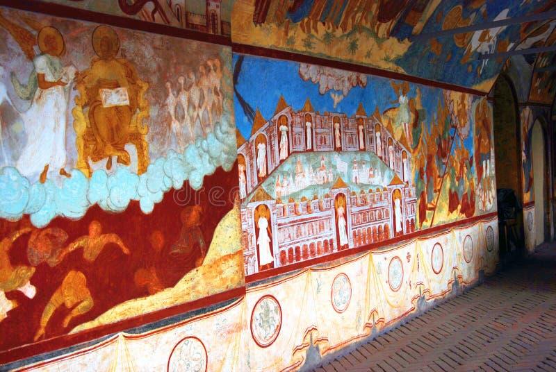 老宗教绘画在克里姆林宫在罗斯托夫,俄罗斯 库存照片