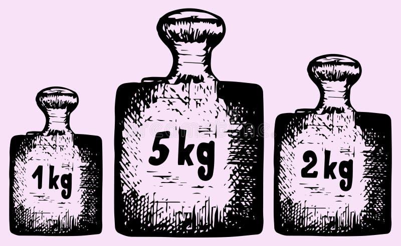 老定标重量 向量例证