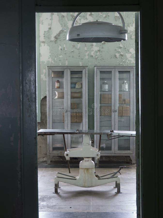 老审查的桌在监狱医院 免版税库存照片