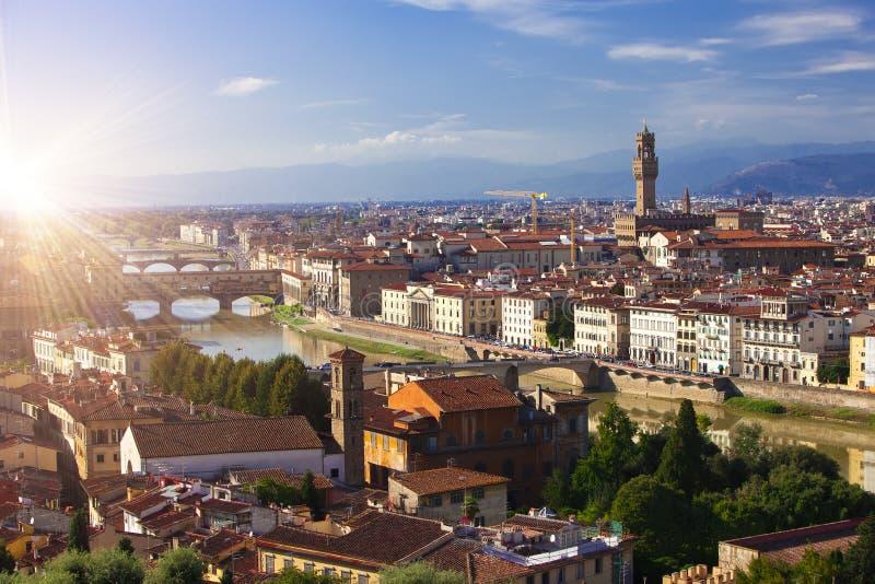 老宫殿Palazzo Vecchio的钟楼在Signoria广场,佛罗伦萨意大利 免版税库存图片