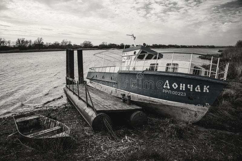 老小船在Starocherkask 库存图片
